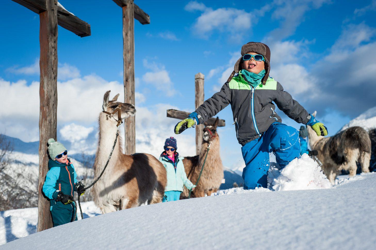 Balade raquettes avec les enfants en compagnie des lamas - Chapelle des Trois Croix à Valloire